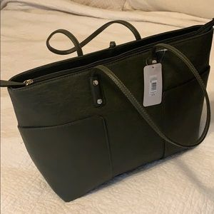 Olive green faux leather tote bag